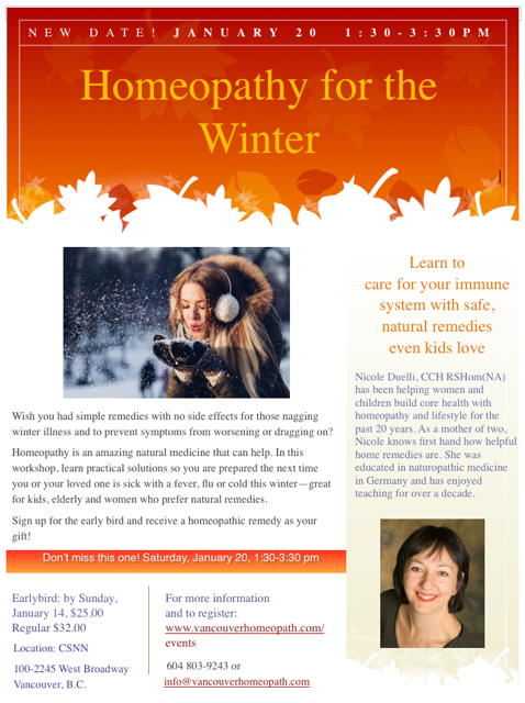 Homeopathy Remedies for Winter Ills with Nicole Duelli January 20, 1:30-3:30